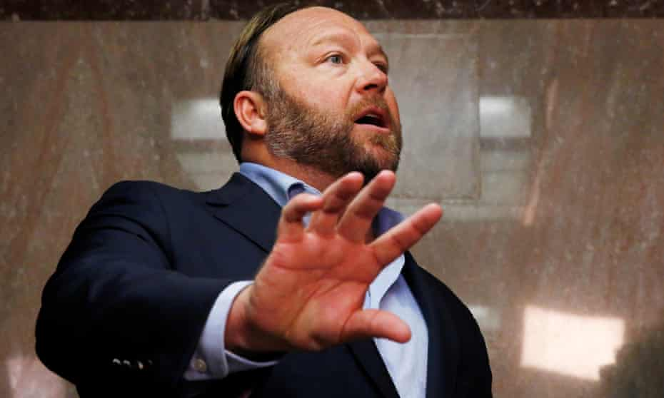 Alex Jones of Infowars who claimed repeatedly to his millions of followers that the Sandy Hook shooting was 'fake'.