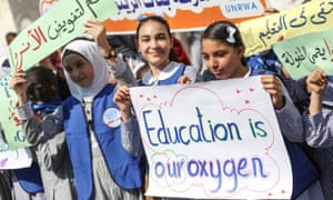 Students in Gaza City show their support for the UNRWA's work
