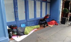 A rough sleeper near Trafalgar Square, London