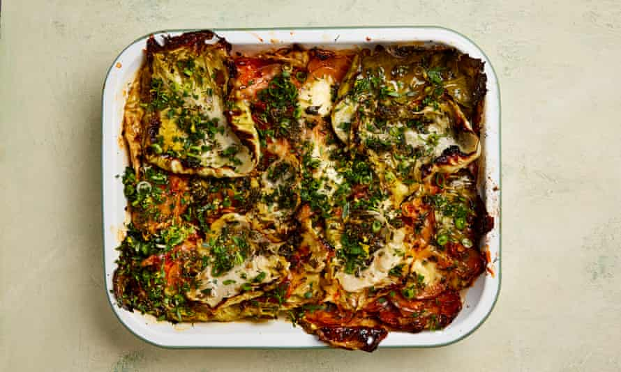 The cheesy roast: Yotam Ottolenghi's herby cabbage and potato bake with gruyère and ricotta.