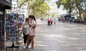 An unusually empty Ramblas street in Barcelona, Spain, 31 July 2020.