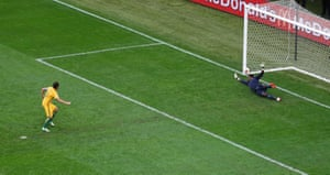 Mark Milligan scores the equaliser from the spot.