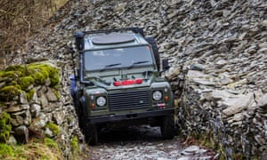 A Land Rover on a green lane in Little Langdale, Cumbria