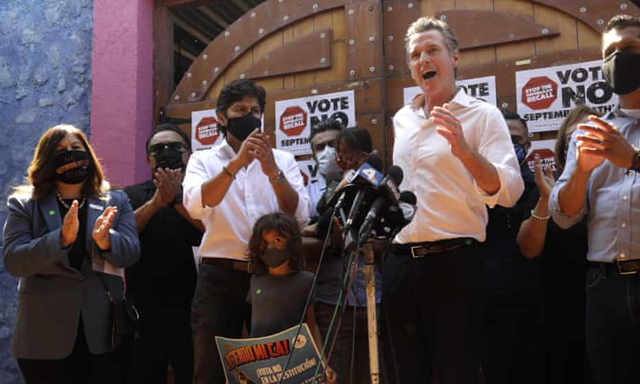 Gavin Newsom makes a statement while meeting with members of the Latino community in East Los Angeles in August.