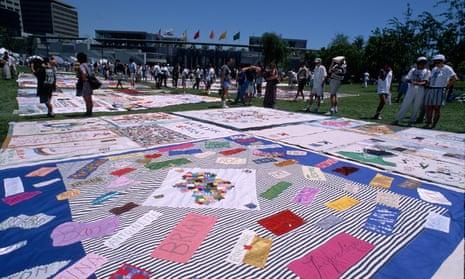An Aids quilt at the Yuerba Buena Center, San Francisco. California.