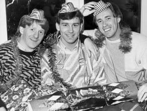 Gordon Strachan, Bryan Robson and Sammy McIlroy in 1985.