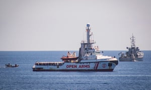 The Open Arms has over 100 rescued people onboard off the coast of Lampedusa.