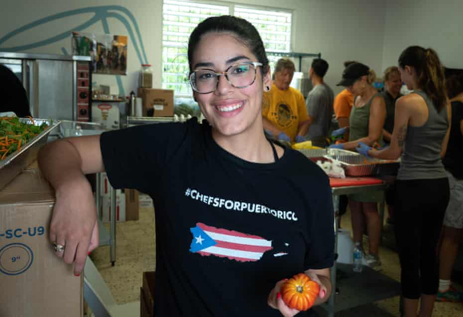 Camille Mercado Rivera, 19, in the kitchen of Chefs for Puerto Rico as food is prepared to be delivered as part of the World Central Kitchen initiative.