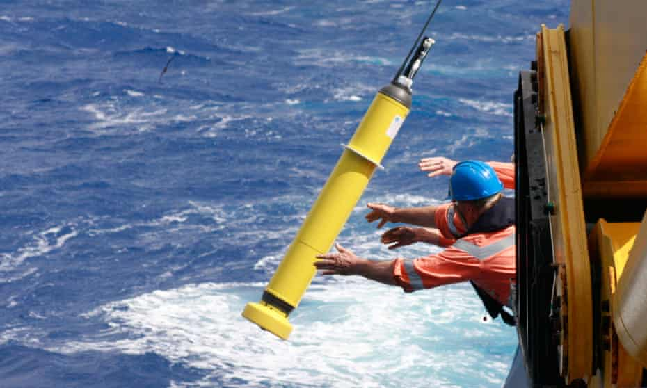 An Argo float is deployed into the ocean