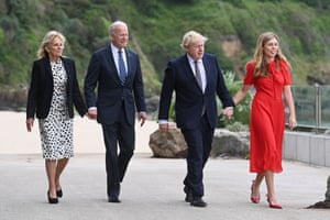 Boris Johnson and his wife Carrie with US President Joe Biden and US First Lady Jill Biden outside Carbis Bay Hotel.
