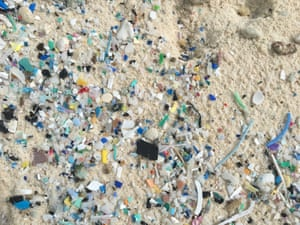 Microplastics on the beaches of South Island of the Coco (Keeling) Islands.