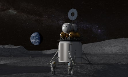 Artist's concept of a human landing system and its crew on the lunar surface with Earth near the horizon.
