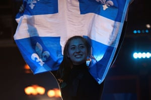 A supporter reacts to the results at the Bloc Québécois election party in Montreal