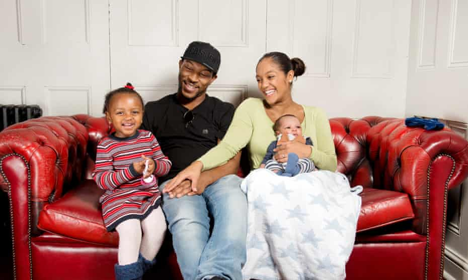 Ashley Walters with his wife Danielle Isaie, daughter Amiaya-Love and son River.