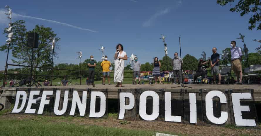 Alondra Cano, a city council member, speaks at Powderhorn Park on Sunday.