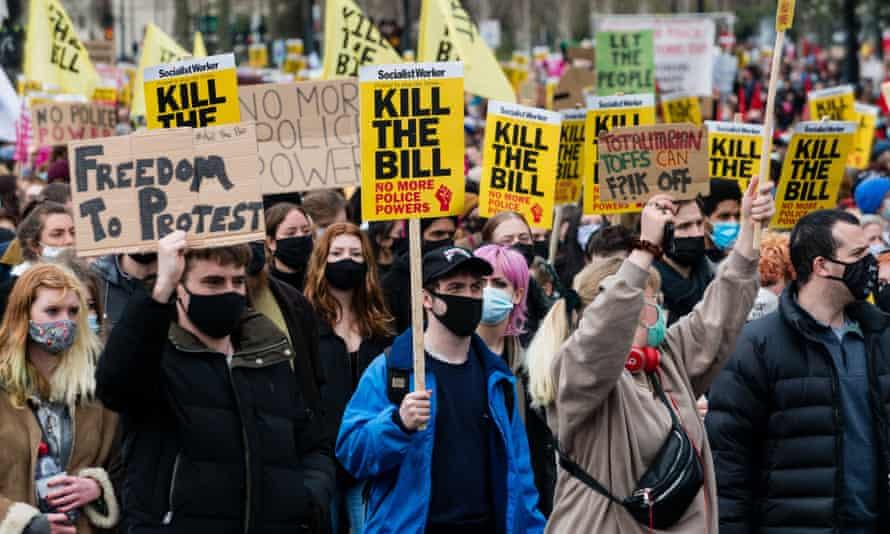 Participants in the 'kill the bill' protest in London on Saturday