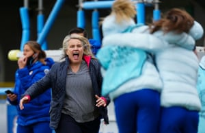 Emma Hayes celebrates after an incredible game of football.