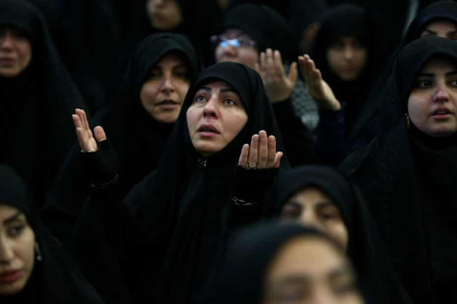 Women gather at the Grand Mosalla in Tehran to mourn during the 40-day memorial for Suleimani.