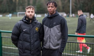 Kinetic Academy manager Harry Hudson (left) with one of his former students, Joe Aribo, who is now a professional with Charlton Athletic.