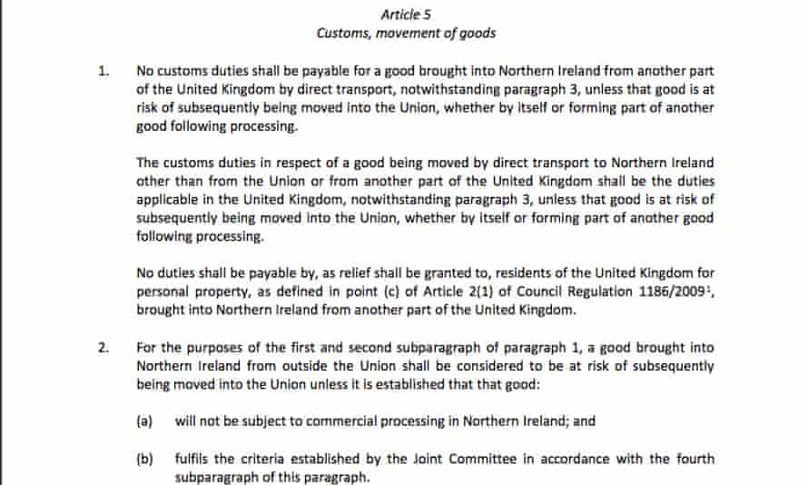 Article 5 of the withdrawal agreement is at the centre of the controversy