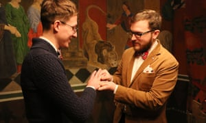Yevgeny Voitsekhovsky and Pavel Stotsko (right) wed in Denmark, where same-sex marriages have been legal since 2012.