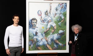 Andy Murray poses with the artist Maggi Hambling next to his portrait
