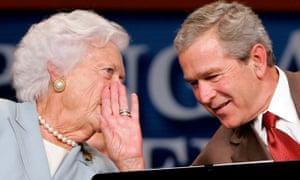 Barbara Bush with her eldest son, the US president George W Bush, at a presentation about Medicare in Atlanta, Georgia, 2005.
