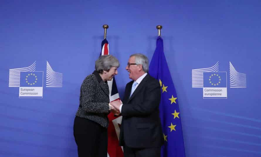 Theresa May meets with European commission president Jean-Claude Juncker to discuss Brexit, at the European Commission headquarters in Brussels.