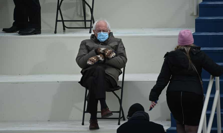 What dress code? Bernie Sanders with his fancy mittens at the inauguration.