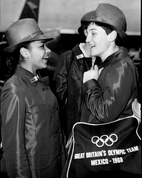 With the sprinter Maureen Tranter, en route to the 1968 Olympics.