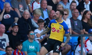 Danny Ings celebrates opening the scoring for Southampton against Crystal Palace.