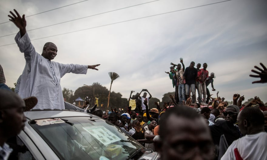 Adama Barrow greeting supporters in Talinding, the Gambia, November 2016