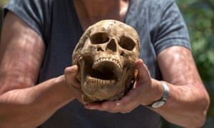 The skull of a 35-year-old Philistine woman excavated in the cemetery at Ashkelon, Israel