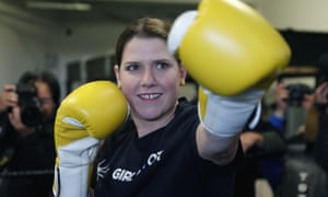 Liberal Democrats leader Jo Swinson wearing boxing gloves