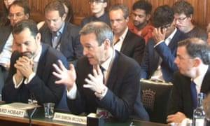Sir Simon McDonald (centre), head of the Foreign Office, giving evidence to the Commons foreign affairs committee.