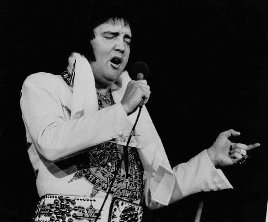 Elvis performing in 1977, three months before his death