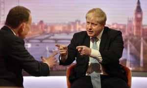 The BBC, including the 'Andrew Marr Show', was fixated on the blue-on-blue fight between Boris Johnson and David Cameron.