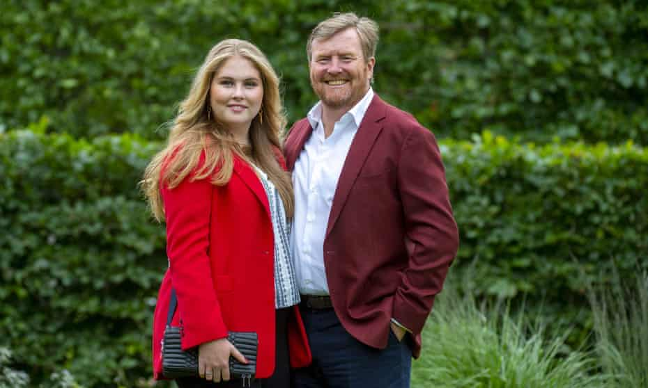 Heir to the Dutch throne Princess Amalia with her father, King Willem-Alexander, in July this year.