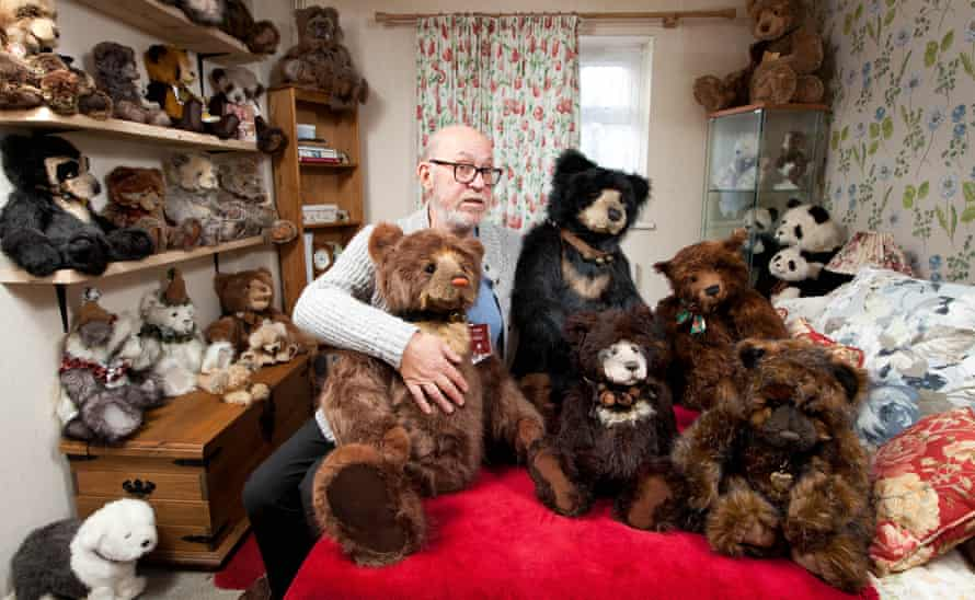 'I've probably spent about £20,000 over my lifetime' … Jeff Annells with members of his 60-strong teddy bear collection.