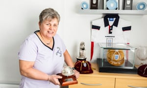 Gill Coultard at home with some of her trophies