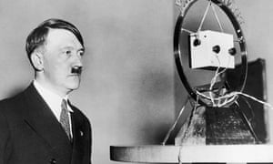 Nazi leader Adolf Hitler makes his first radio broadcast as German Chancellor in front of a radio microphone.