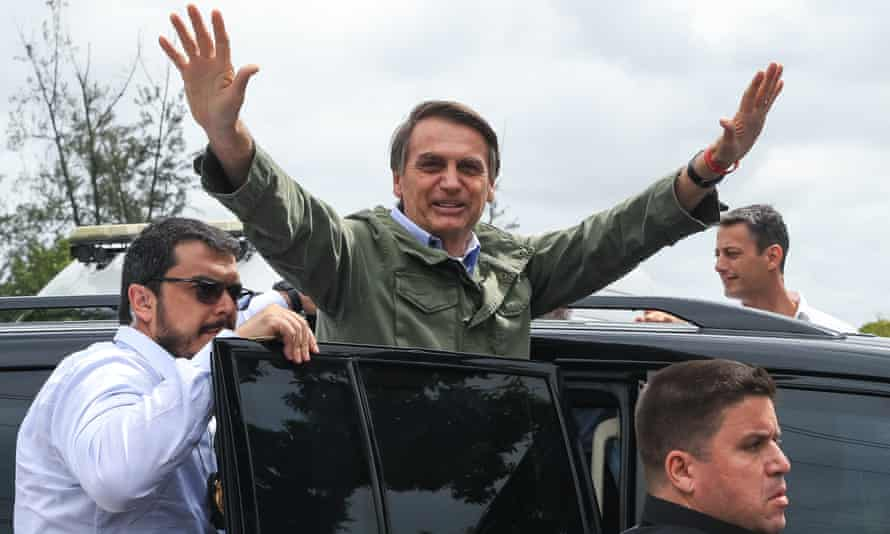 Jair Bolsonaro after casting his general election vote on 28 October.