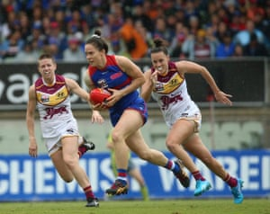 Emma Kearney of the Western Bulldogs runs forward during the AFLW grand final against the Brisbane Lions at Ikon Park in Melbourne.