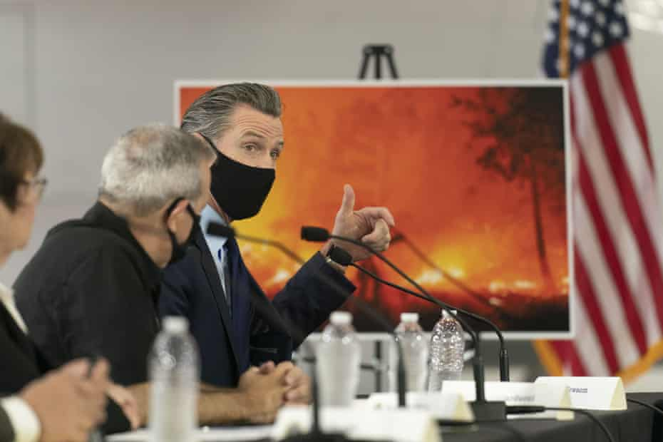 Newsom speaks about wildfires during a briefing with Donald Trump in McClellan Park, California, last year.