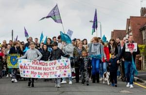 Waltham Holy Cross school protest against academisation, April 2019
