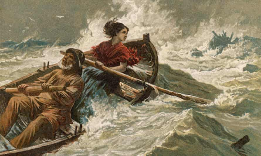 A depiction of Grace Darling and her father rowing to rescue the wreck survivors.