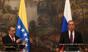 Russian foreign minister Sergey Lavrov, right, and Venezuela's foreign minister Jorge Arreaza give a press conference in Moscow on Sunday.