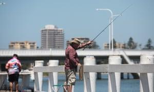 A man fishing at The Entrance