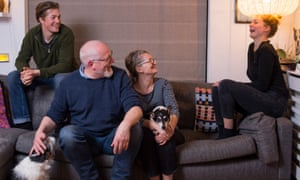 Heather and Philip Cutler, centre, at home in Devon, with their twentysomething children Jess, right, and Jim, left