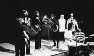 The Bonzo Dog Doo-Dah band performing on Top of the Pops in 1968. From left: Dennis Cowan, Vivian Stanshall, Neil Innes, Rodney Slater, 'Legs' Larry Smith and Roger Ruskin Spear.